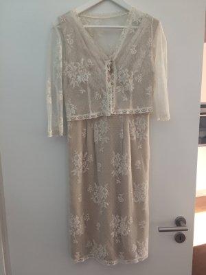 Tailliertes Spitzenkleid, Brautkleid, Standesamt, Seide, ivory/elfenbein