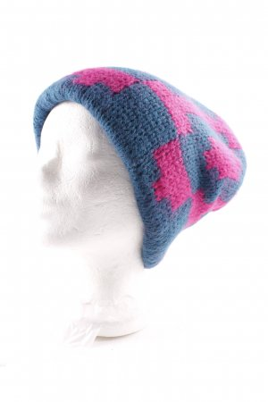 Tak.Ori Chapeau en tricot bleu pétrole-rose motif abstrait style décontracté