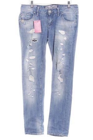 Take Two Jeans taille basse bleuet-blanc style décontracté
