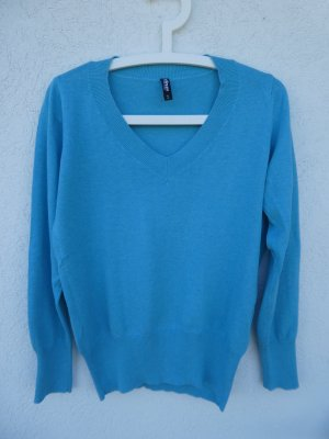 Takko Knitted Sweater turquoise cotton