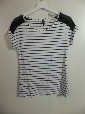 Takko Stripe Shirt white-black viscose