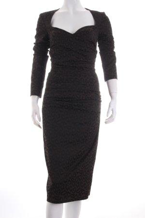 Talbot Runhof Cocktailkleid dunkelbraun-schwarz Leomuster extravaganter Stil