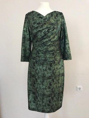 Talbot Runhof Designer-Kleid grün schwarz Lurexfaden