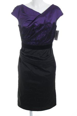 Talbot Runhof Midikleid schwarz-dunkelviolett Blumenmuster Materialmix-Look