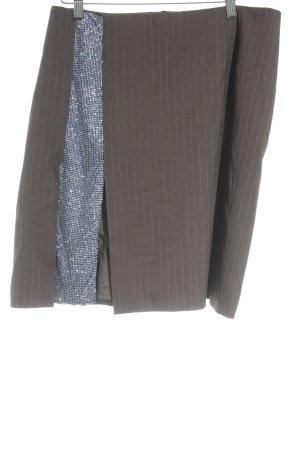 Talbot Runhof Midirock blau-graubraun Nadelstreifen Elegant