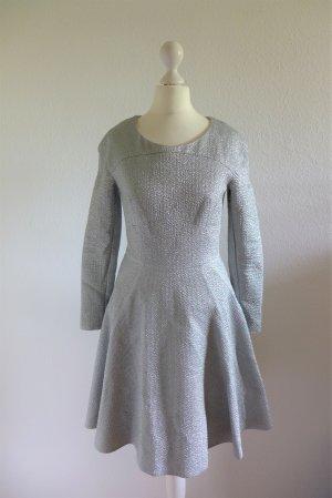 Talbot Runhof Prêt Skater Langarm Kleid Abendkleid silber Gr. 34/36 neu