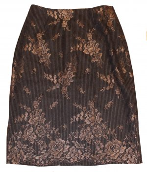 Talbot Runhof Lace Skirt brown-bronze-colored wool