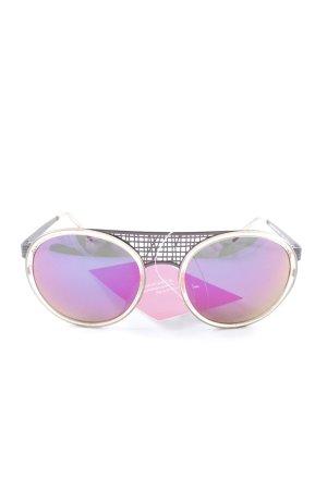 Talbot Runhof runde Sonnenbrille dunkelgrau-wollweiß Casual-Look