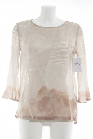 talk about Zijden blouse stoffig roze-wit abstract patroon simpele stijl