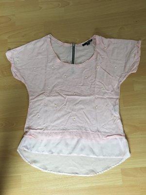 Tally Weijl Bluse rosa M 38 Shirt kurzarm Perlen Reisverschluss
