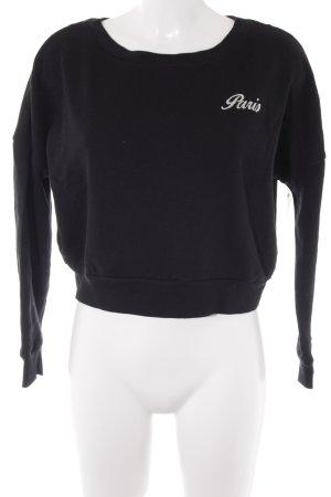 Tally Weijl Cropped Shirt schwarz-wollweiß Schriftzug gestickt Casual-Look