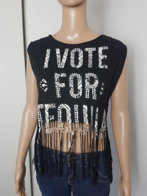 """Tally Weijl Damen Top Shirt cropped mit Fransen """"I Vote for Tequila"""" Größe XS"""