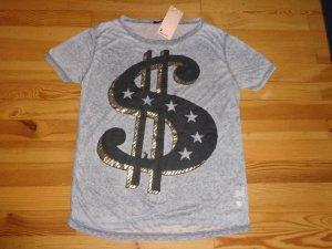 Tally Weijl graues T-Shirt Dollarzeichen Gr. L 42 fällt groß aus! NEU
