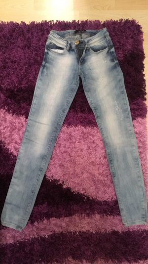 Tally Weijl Pantalon taille basse blanc-bleu azur