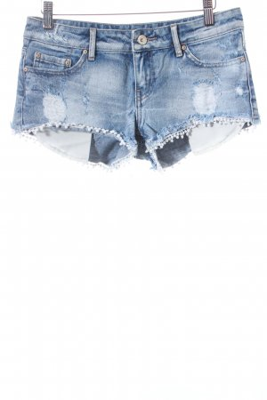 Tally Weijl Jeansshorts hellblau-wollweiß Destroy-Optik