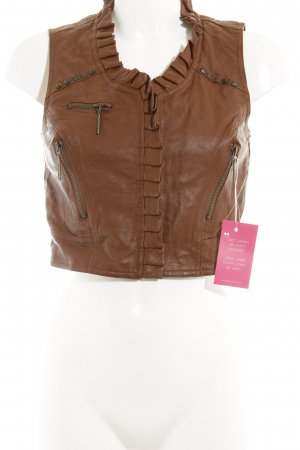 Tally Weijl Leather Vest brown-gold-colored Boho look
