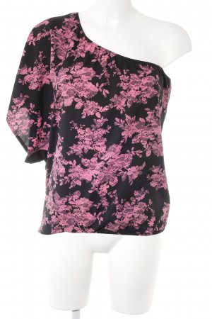 Tally Weijl One-Shoulder-Shirt schwarz-pink florales Muster Casual-Look