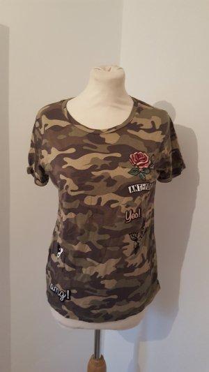 Tally Weijl Shirt Camouflage mit Aufnähern Größe S