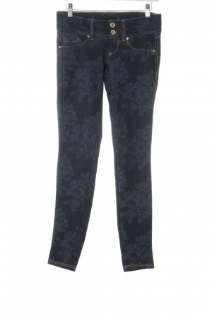 Tally Weijl Skinny Jeans dunkelblau florales Muster Casual-Look