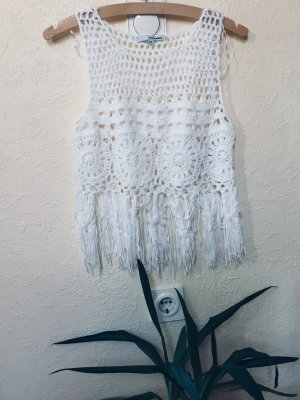 Tally Weijl Top en maille crochet blanc