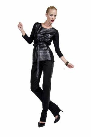 Slip-over blouse zwart Viscose