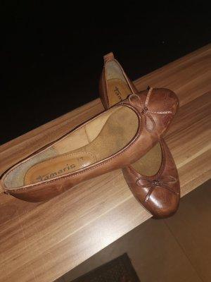 Tamaris Ballerina di pelle verniciata marrone