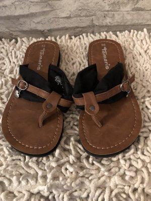 Tamaris Flip-Flop Sandals black-cognac-coloured