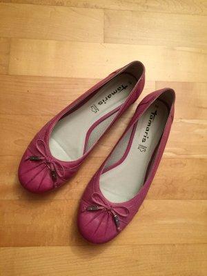 Tamaris Ballerina 39 Pink Fuchsia Leder Neu