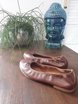 Tamaris Ballerinas cognac-coloured leather
