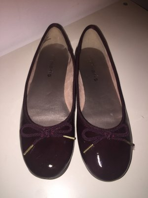 Tamaris Patent Leather Ballerinas bordeaux