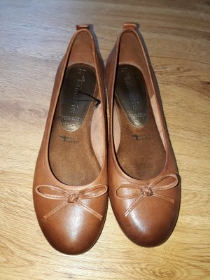 Tamaris Mary Jane Ballerinas cognac-coloured leather