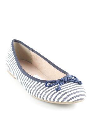Tamaris Ballerinas mit Spitze dunkelblau-weiß Streifenmuster Business-Look