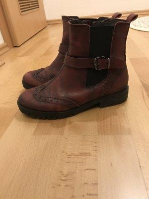 Tamaris Bordeaux weinrot Boots Stiefeletten 36 Leder