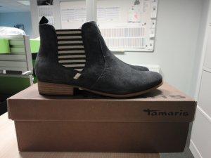 Tamaris Zipper Booties white-blue leather