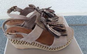 Tamaris Sandales à plateforme gris brun