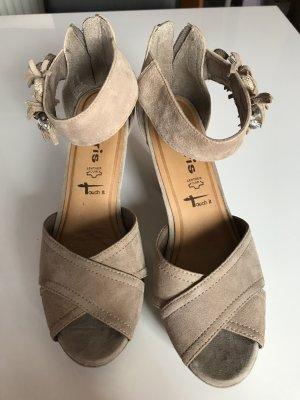 Tamaris Platform High-Heeled Sandal grey brown suede