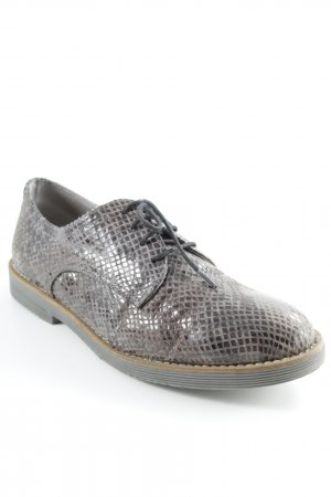 Tamaris Derby dark brown-grey brown animal pattern business style