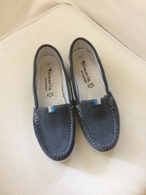 Tamaris , dklblaue Segelboot Slipper
