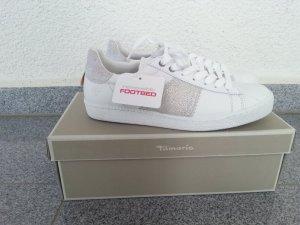 Tamaris Echtleder Sneaker weiß/silber neu