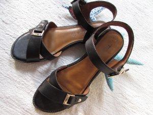 Tamaris * Edle Leder Sandale AntiShokk * schwarz-goldfarben * 41 NEU
