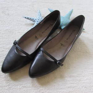 Tamaris Strappy Ballerinas black leather