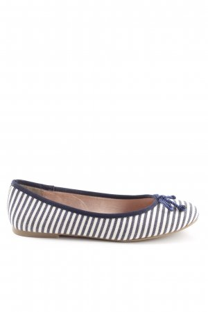 Tamaris Foldable Ballet Flats blue-white striped pattern casual look