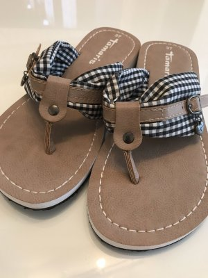 Tamaris High-Heeled Toe-Post Sandals white-blue