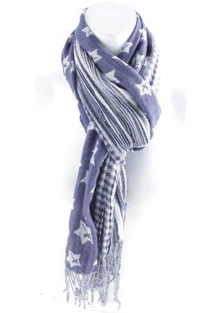 Tamaris Fransenschal grau-dunkelblau Sternenmuster Casual-Look