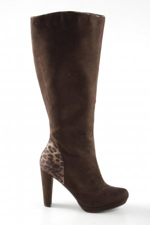 Tamaris High Heel Boots brown-natural white leopard pattern casual look