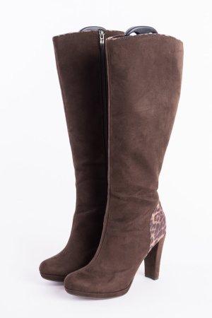 TAMARIS - High-Heel Stiefel mit Details im Leo-Look Braun