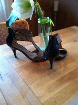 Tamaris High Heel Sandal black-sand brown leather