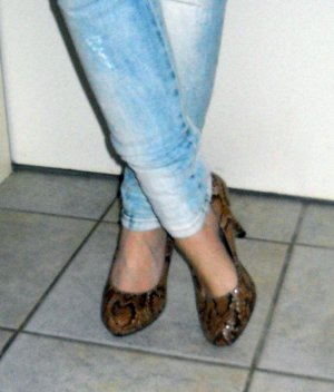 TAMARIS High Heels Schuhe Absatz Schlange snake braun Plateau Pumps 38 39 6 NEU