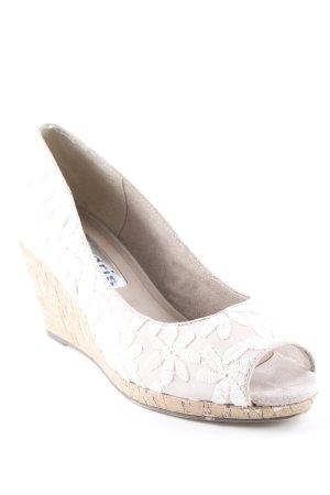 Tamaris Keil-Pumps creme-beige Blumenmuster Casual-Look