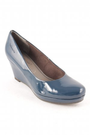Tamaris Keil-Pumps stahlblau Casual-Look